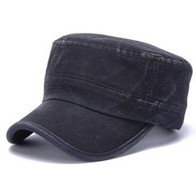 Stylish Letters Embroidery Flat Top Men's Military Hat, Black