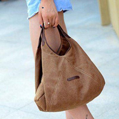Concise Canvas and Zip Design Women's Tote Bag, Brown