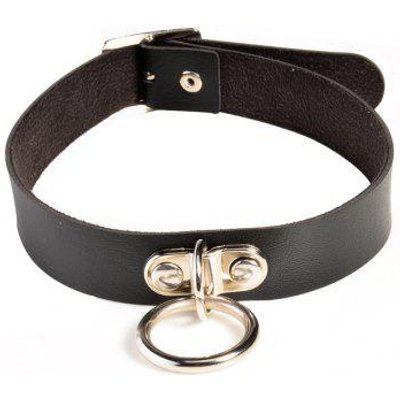 Faux Leather Circle Alloy Choker Necklace
