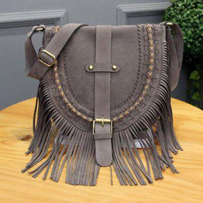 Ethnic Style Buckle and Weaving Design Women's Shoulder Bag