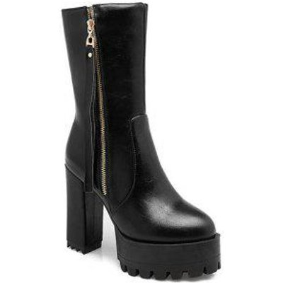Stylish Side Zip and Chunky Heel Design Women's Short Boots