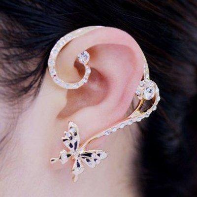 Pair of Rhinestoned Alloy Butterfly Earrings