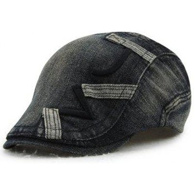 Stylish Letter Shape Embroidery Do Old Denim Fabric Cabbie Hat, Black