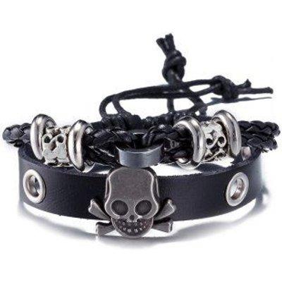 Faux Leather Woven Infinity Skull Bracelet, Black