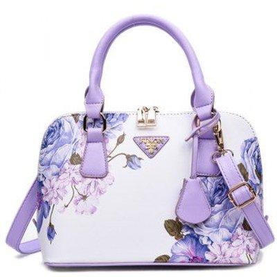 Wintersweet Printed Handbag, Purple