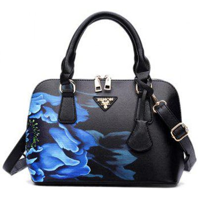Wintersweet Printed Handbag, Black