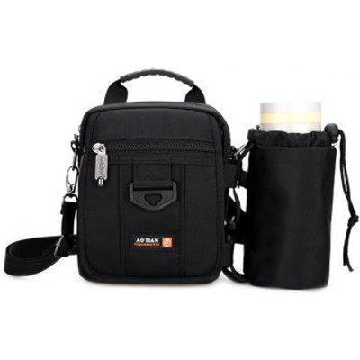 Dark Color Zip Nylon Crossbody Bag