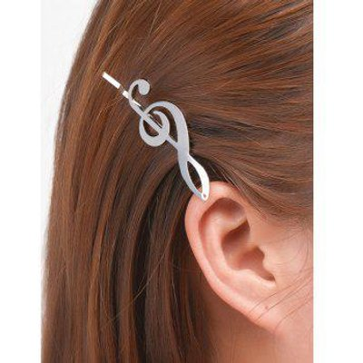 Alloy Music Note Hair Accessory, Silver