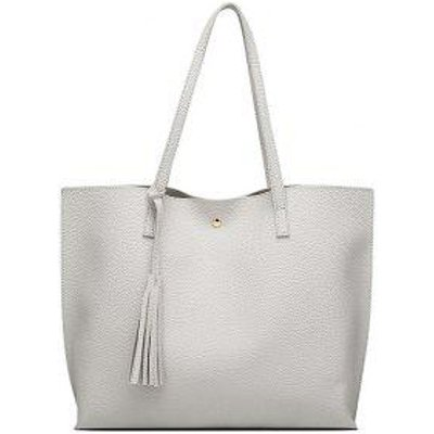 Casual Textured Tassel Shoulder Bag, Gray