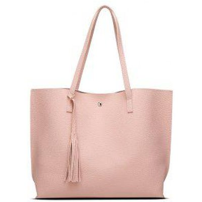 Casual Textured Tassel Shoulder Bag, Pink