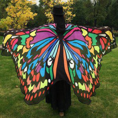 Butterfly Wing Cape Pashmina, COLORFUL