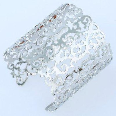 Hollowed Filigree Cuff Bracelet, Silver