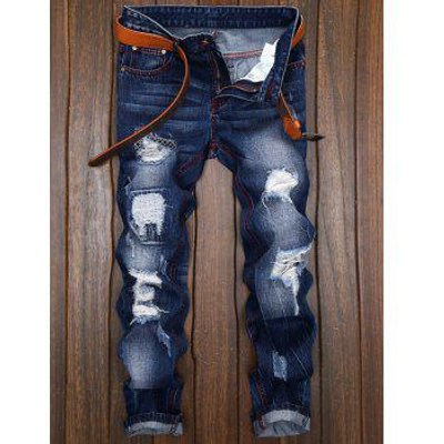 Ripped and Repaired Jeans, Denim Blue