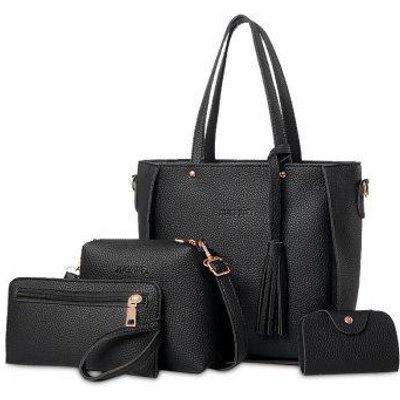 Faux Leather Tassel Tote Bag Set, Black