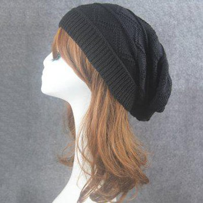 Wave Striped Knitting Beanie Hat, Black