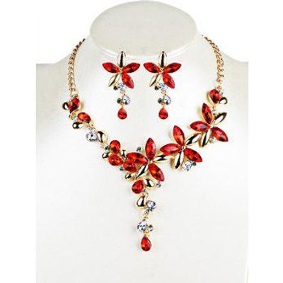 Vintage Crystal Floral Embellished Necklace Earrings Jewelry Set, Red