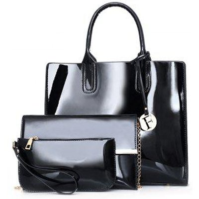 Patent Leather Handbag Set, Black