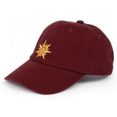 Outdoor Sun Pattern Embroidery Baseball Hat, wine red
