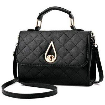 Quilted Flap Twist Lock Handbag, Black