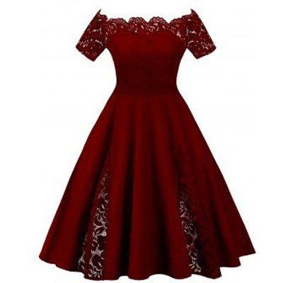 Plus Size Off Shoulder Lace Panel Dress