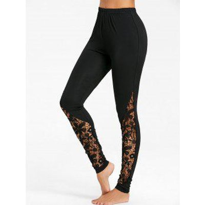 Crochet Lace Trim Fitted Pants