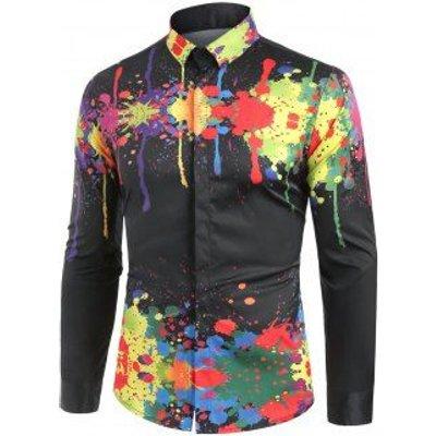 Turndown Collar Colorful Splatter Paint Pattern Long Sleeve Shirt, Black