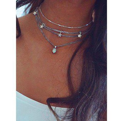 Star Pendant Layered Choker Necklace