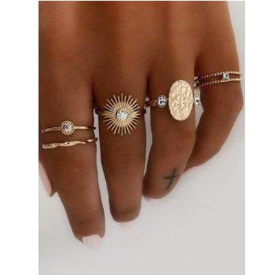 Rhinestone Sun Oval Shape Rings Set