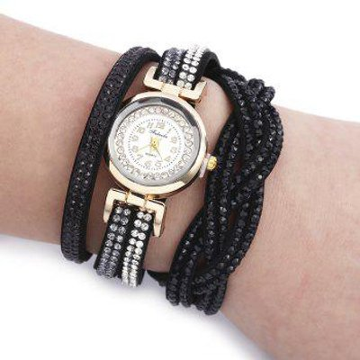 Fulaida Quartz Female Rhinestone Watch Fashion Bracelet Wristwatch Hand Decoration, Black
