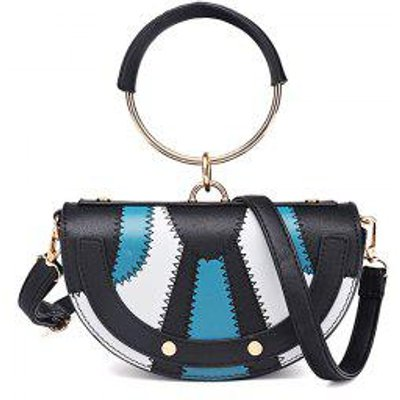 New Tide Ring Small Bag Personality Fashion Single Shoulder Bag Handbag, Black and Blue