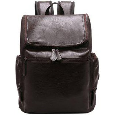 Fashion Simple Solid Color PU Leather Backpack Schoolbag for Men