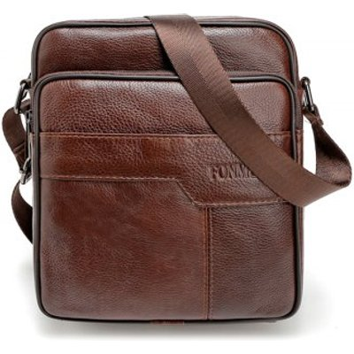 Brand 100% Genuine Leather Men's Crossbody Bag Casual Business Leather Mens Messenger Bag Vintage Me