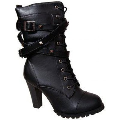 Women Autumn Winter Fashion PU Leather Martin Buckle Boots Waterproof Block Thick Middle High Heel L