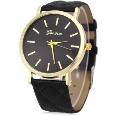 Geneva Women Quartz Watch Checks Leather Band Round Dial, Black