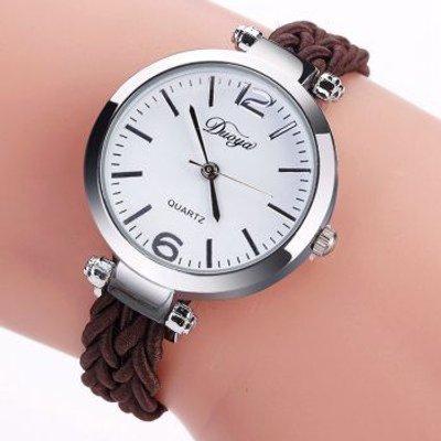 DUOYA D190 Fashion Women Luxury Silver Dress Watch Vintage Weave Bracelet Watch, Brown