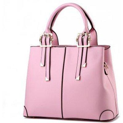 Women's Handbag Solid Faux Leather Unique Detachable Handle Versatile Bag, Pink