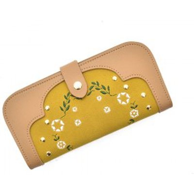 Fashion Women's Stitching Embroidered  Purse Elegant Ladies Rivets Embroidery Clutch, Apricot