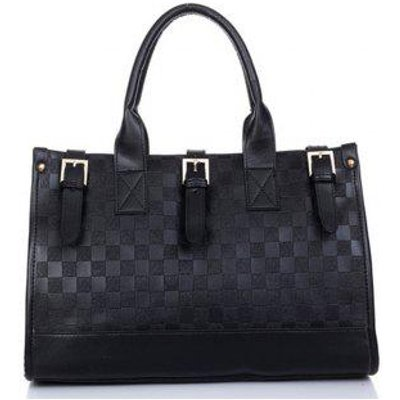 Women's Handbag Delicate Large Capacity Plaids Pattern Bag, Black