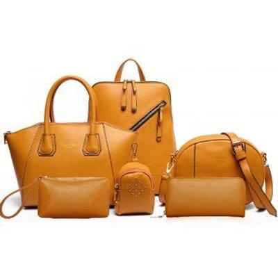 Double Back Portable Shoulder Messenger Six-Piece Ladies Bag