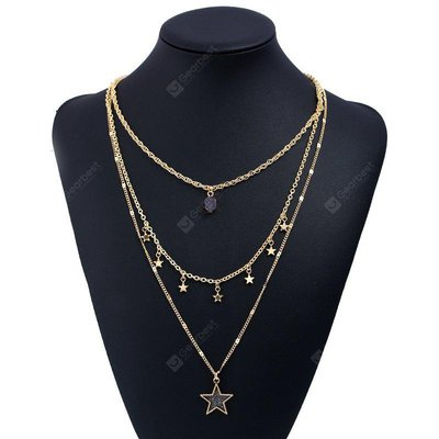Layered Star Faux Gem Pendant Necklace
