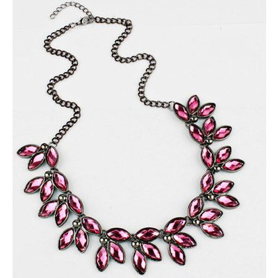 Faux Crystal Leaves Necklace