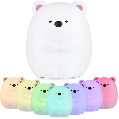 JM - 03 LED Rechargeable Silicone Bear Night Light for Bedroom