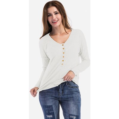 Button V-neck Long Sleeves Solid Color T-Shirt for Women