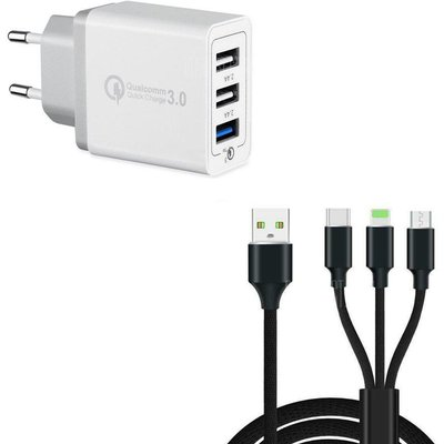 30W 3 Port Fast Quick Charge QC 3.0 USB Wall Charger +  3 in 1 Type-C + 8 Pin + Micro USB Data Charg