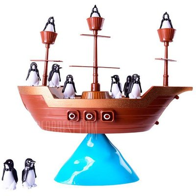 Penguin Pirate Ship Balance Puzzle Board Game Parent Child Interactive Toy