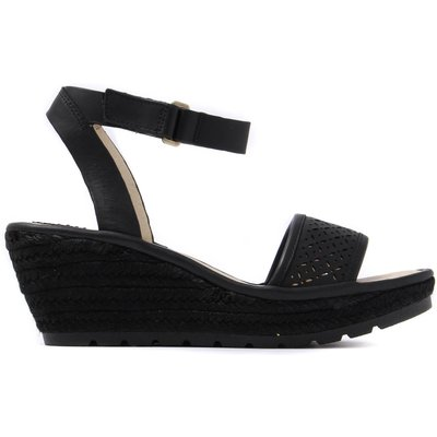 Women's Ekal Leather Laser Cut Ankle Strap Sandal - Black