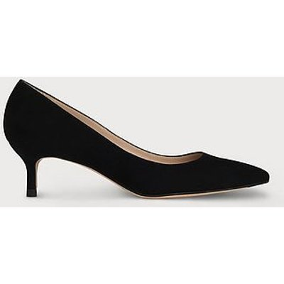 Audrey Black Suede Kitten Heel Courts, Black