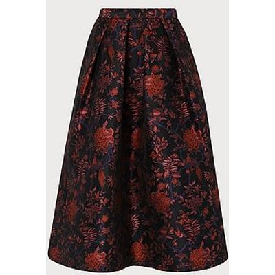 Delysia Floral Skirt, Black Multi