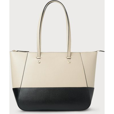 Marcia Taupe Black Leather Tote Bag