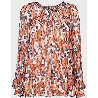 Agnes Orange Silk Blouse, Orange